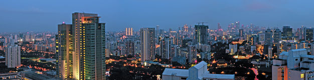 Evening City Skyline Panorama Singapore Stock Photo