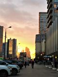 Evening city. Sunset on the Arbat in Moscow Royalty Free Stock Photos