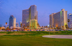 The evening city of Tel Aviv Royalty Free Stock Photography