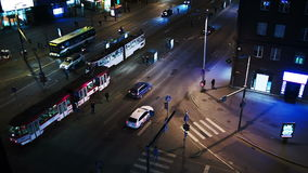 Evening city traffic in Tallin, Estonia. Crossroad stock video