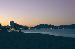Evening city, Vietnam, Nha Trang. Royalty Free Stock Photo