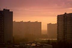 Evening city view horizontal Stock Photos