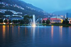 Evening cityscape of Bergen, Norway Stock Image
