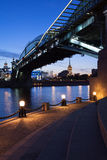 Evening cityscape with Bogdan Khmelnitsky Bridge, Moscow, Russia Stock Photography