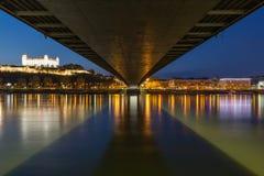 Evening cityscape of Bratislava, Slovakia Stock Photo
