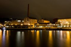 Evening cityscape of Lahti, Finland. Harbor Royalty Free Stock Photography