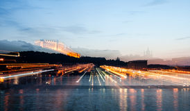 Evening cityscape with river in Kiev Royalty Free Stock Photography