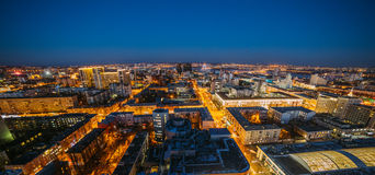 Evening cityscape from rooftop. Houses, night lights, city center. Voronezh down Royalty Free Stock Images