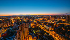 Evening cityscape from rooftop. Houses, night lights. Voronezh d Royalty Free Stock Photo