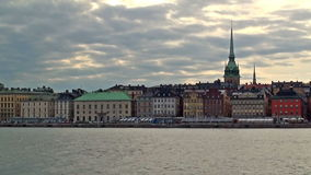 Evening cityscape of Stockholm, Sweden stock video footage