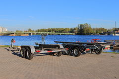 Evening cityscape with two boat trailers Royalty Free Stock Photo