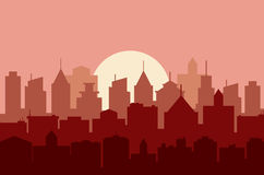 Evening cityscape vector illustration. Stock Photos