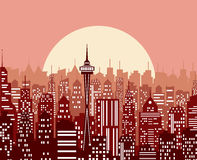 Evening cityscape vector illustration. Stock Image
