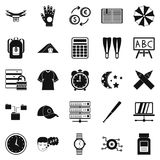 Evening classes icons set, simple style. Evening classes icons set. Simple set of 25 evening classes vector icons for web isolated on white background Stock Image