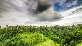Evening clouds on hill in tropics time lapse. Evening clouds over green hill in tropics time lapse stock footage
