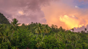 Evening Clouds over Jungle during Sunset on Gam Island, West Papuan, Raja Ampat, Indonesia. Evening Clouds over Jungle on Sunset on Gam Island, West Papuan, Raja Royalty Free Stock Image
