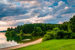 Evening clouds over the shore of Lake Marburg, Codorus State Par Stock Image