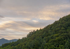 Evening clouds with tree mountain.  Royalty Free Stock Image