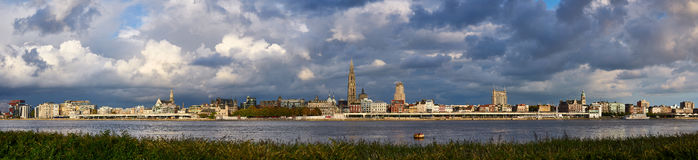 Evening cloudy panorama of the City of Antwerp Royalty Free Stock Photos