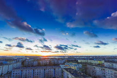 Evening cloudy sk. Y and sunset in district of Riga, Latvia royalty free stock image