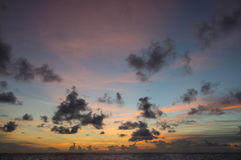Evening cloudy sky over the ocean Stock Photography