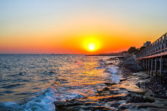 Evening on the coast. Evening on the coast of the Mediterranean's resort Stock Photo