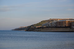 Evening coastline from Marsalforn, Gozo Royalty Free Stock Images