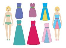 Evening and cocktail dresses for paper dolls girl, woman set, vector. Stock Photos