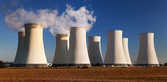 Evening colored sunset view of Nuclear power plant Royalty Free Stock Images