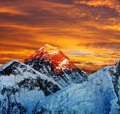 Evening colored view of Everest from Kala Patthar Stock Photos
