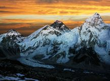 Evening colored view of Everest from Kala Patthar Stock Photo
