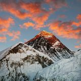 Evening colored view of Everest - Nepal Stock Photo