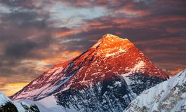 Evening colored view of Mount Everest from Gokyo Ri. Khumbu valley, Solukhumbu, Sagarmatha national park, Nepal royalty free stock photography