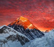 Evening colored view of Mount Everest from Kala Patthar Stock Images