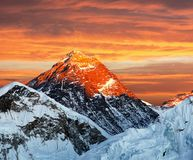 Evening colored view of Mount Everest from Kala Patthar. Khumbu valley, Solukhumbu, Sagarmatha national park, Nepal Royalty Free Stock Images