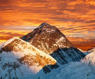 Evening colored view of Mount Everest from Kala Patthar Royalty Free Stock Photography