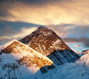 Evening colored view of Mount Everest from Kala Patthar Royalty Free Stock Photos