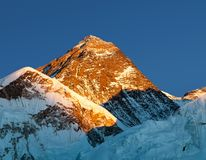 Evening colored view of Mount Everest from Kala Patthar Stock Image