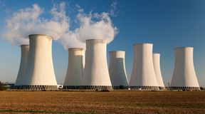 Evening colored view of Nuclear power plant Royalty Free Stock Photography