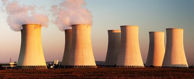 Evening colored view of Nuclear power plant Stock Photos