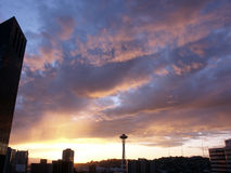 Evening Colors. Seattle skyline during sunset Stock Photography