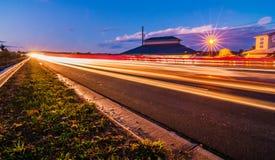 Evening commute traffic near lake wylie north and south carolina. Border over bridge Stock Photos