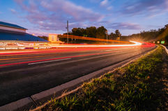 Evening commute traffic near lake wylie north and south carolina. Border over bridge Stock Photography
