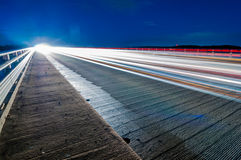 Evening commute traffic near lake wylie north and south carolina. Border over bridge Royalty Free Stock Photography