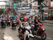 Evening Commuter Rush in Ho Chi Minh, Vietnam Royalty Free Stock Image