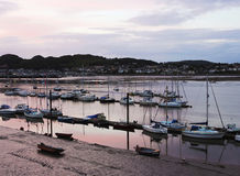 An Evening Conwy Marina and Deganwy Shot royalty free stock image
