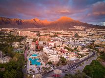 Evening - Costa Adeje - aerial photo royalty free stock images