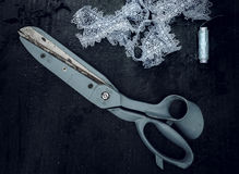 Evening, crafts. vintage. old scissors, lace, thread, buttons. top view Royalty Free Stock Photography
