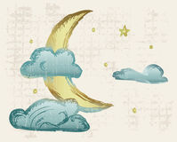 Evening crescent. Grunge style. Vector illustration Royalty Free Stock Image