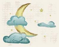 Evening crescent. Grunge style. Vector illustration vector illustration